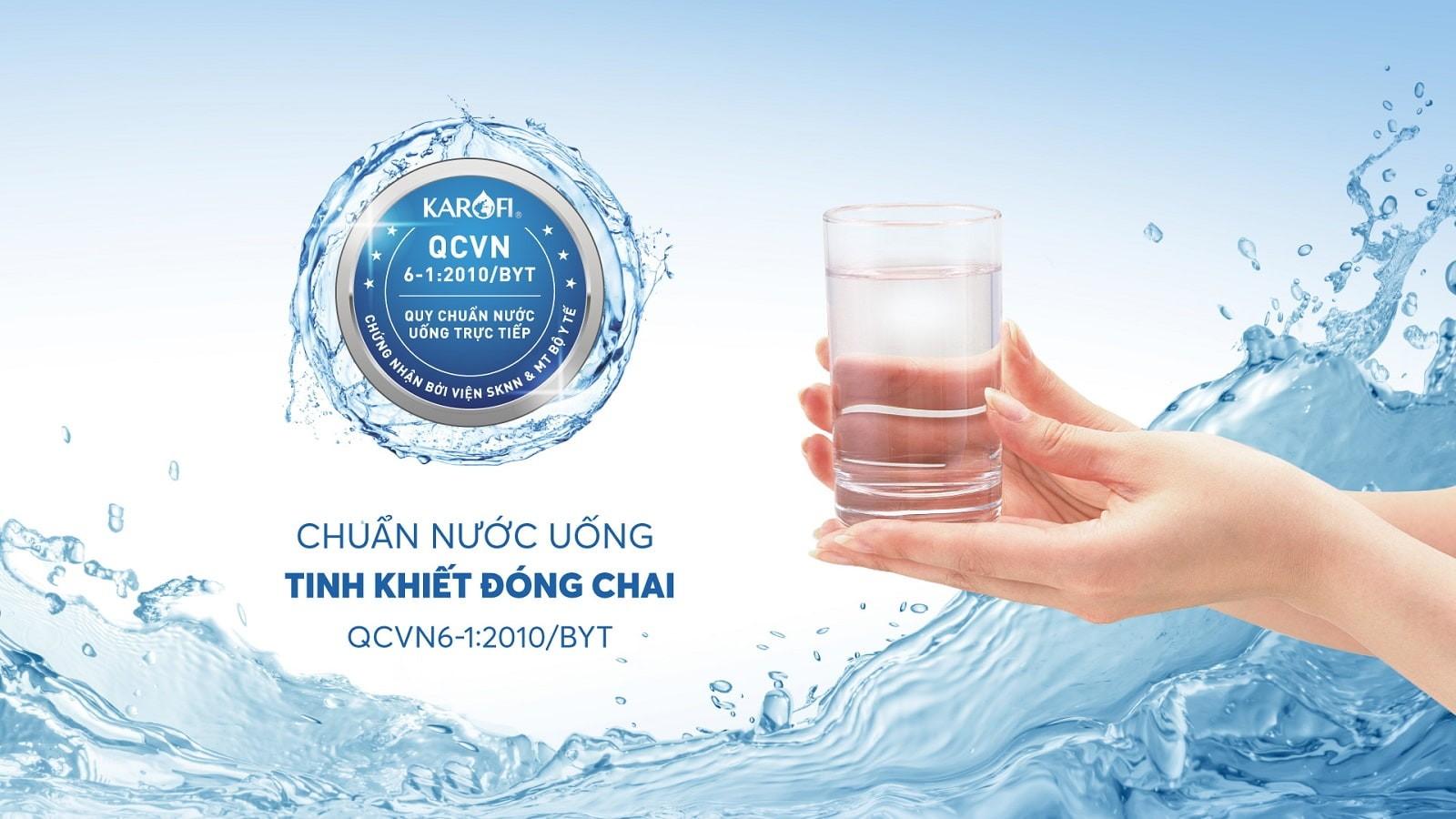 Nước sau lọc đạt chuẩn tinh khiết nước uống đóng chai